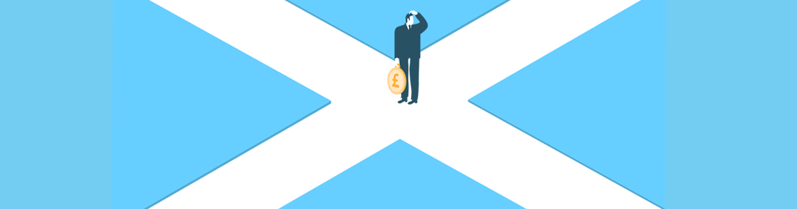 confused man on a scottish flag background