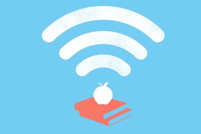wifi symbol above a stack of books