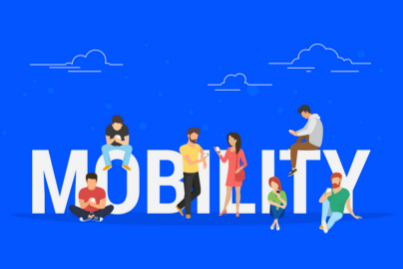 The word MOBILITY with characters around it